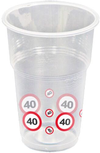 40TH FÊTE D/'ANNIVERSAIRE 10 en plastique jetables verres des panneaux de signalisation