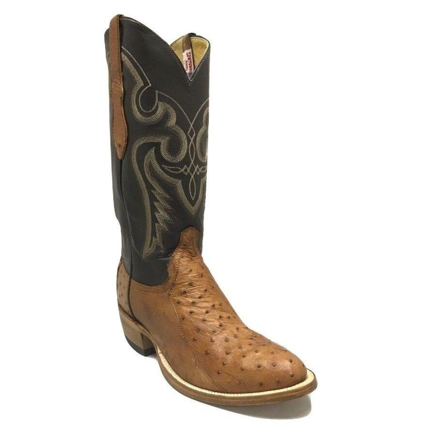 Cowtown Hombre Marrón 4 piezas Avestruz botas occidental de cuero W174