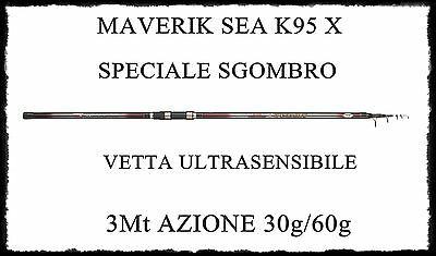 Fishing Canna Maverik Sea K95x Pesca Bolentino 3m 30/60g Telescopica Sgombro Carbonio
