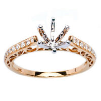 14kt Gold .19ct Round Diamond Pave Set Semi Mount Solitaire Engagement Ring