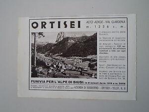 Dettagli su advertising Pubblicità 1940 ORTISEI ALTO ADIGE - VAL GARDENA