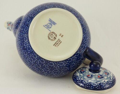 Blumen blau//weiß Tee Bunzlauer Keramik Teekanne Kanne für 1,3Ltr C017-DPMA
