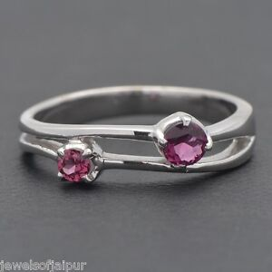 925-Sterling-Silver-Garnet-Gemstone-Two-Stone-Ring-size-US-6-Jewelry-SRG-78