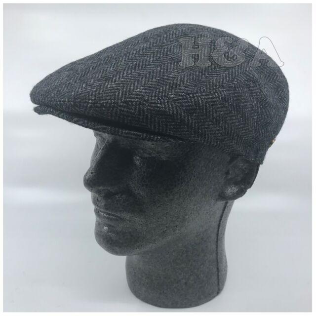 Newsboy Ivy Snap Bill Brim Cabbie Golf Dress Cap Hat FullyLined-Herringbone 132f7596129