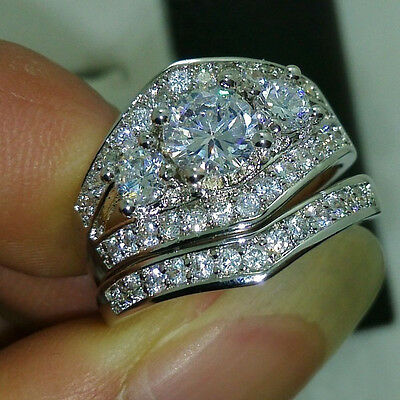 2 Ct Round Cut Sim Diamond 14K White Gold Fn Engagement Wedding Bridal Ring Set
