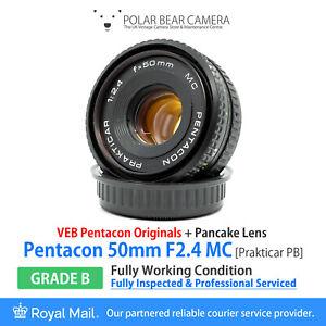 ⭐SERVICED⭐ PENTACON 50mm F2.4 *Pancake* MC Prakticar PB Mount + Caps [GRADE B]