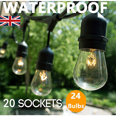 Outdoor Lighting 20m Heavy Duty Waterproof Festoon Patio Outdoor String Lights 24 Pcs S14 Bulbs Home Garden Yuki Be