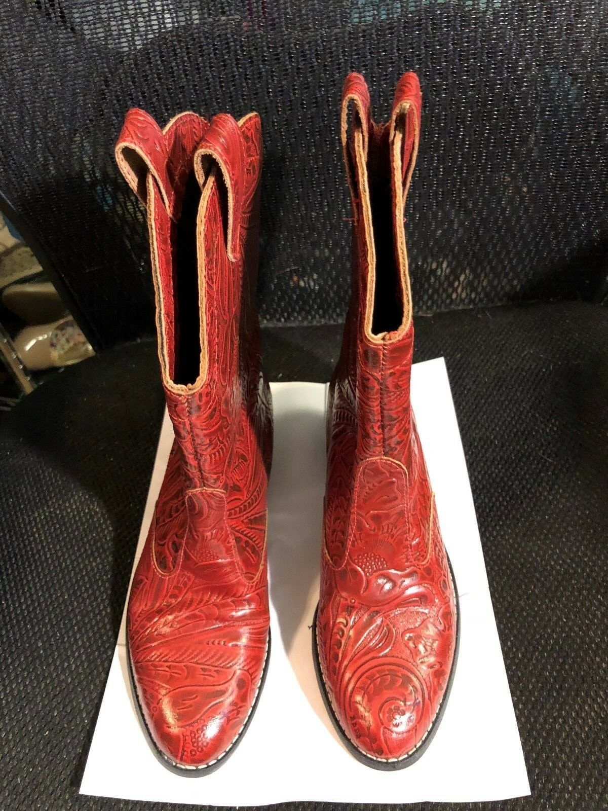 Boots, TIC-TAC-TOES, red leather & leather soles, 1 1 2  heel, SZ  6N