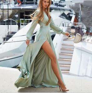 Bohemian Women V Neck Sexy Maxi Dress Side Slit Belt Party Beach Summer Sundress