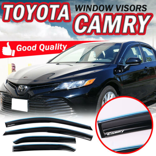 Fits 18-19 Toyota Camry Sun Window Visor With Chrome Trim Acrylic Smoke