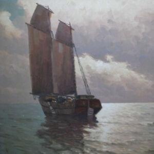 Neutschmann-Otto-1902-1985-Hamburg-Marine-Meer-Segelboot-Landschaft