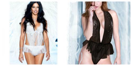 Black NWT  S,M,L  Victoria/'s Secret Bridal Rhinestone Halter Tulle Teddy White
