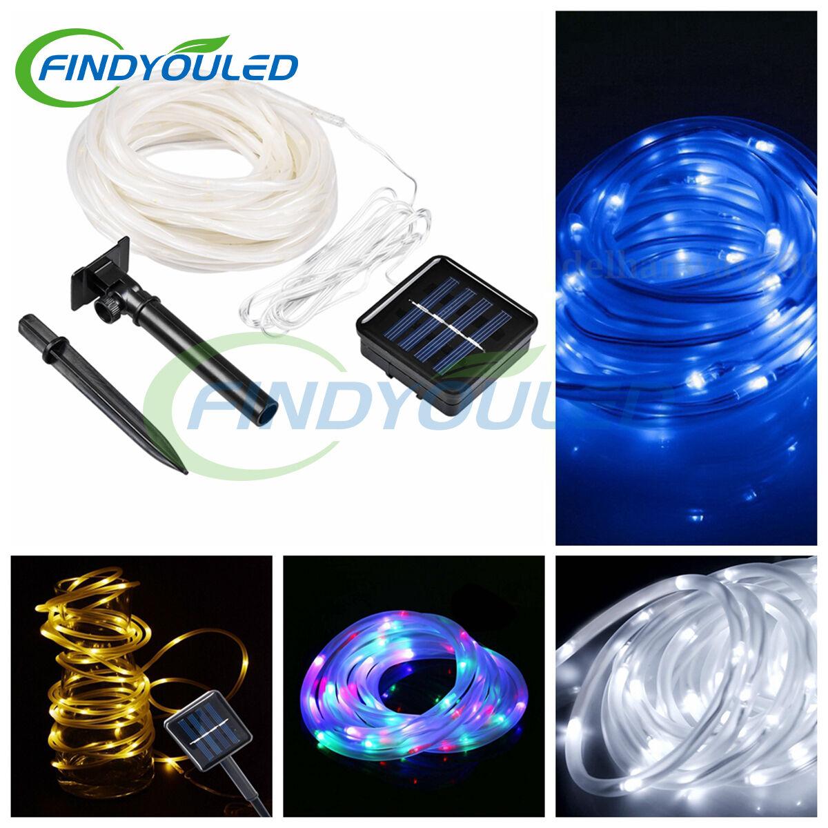 39.4FT 12M 100LEDs Solar Powered Rope LED Tube Light String outdoor Waterproof