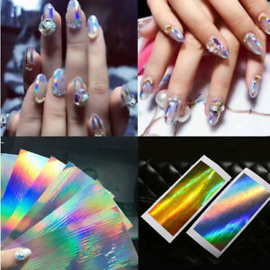 Image Is Loading 1pcs Holographic Nail Stickers Art Silver Stripe