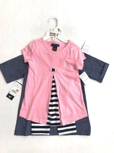 Polo Assn Little Girls 3 piece outfit denim shirt w leggings 2T-4T NWT U.S