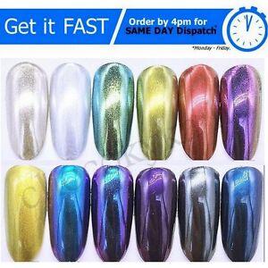 Specchio in polvere effetto cromato pigmento nail art 8 colori polvere unghie camaleonte ebay - Unghie polvere specchio ...