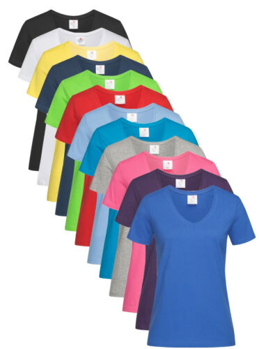 Womens Ladies Fit 100/% Cotton Short Sleeve V-Neck Vee Neck Tee T-Shirt S-XXL
