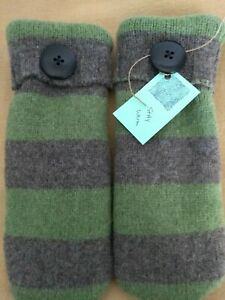 Details about Handmade WOOL blend recycled Mittens sweater women, one size, fleece lined green