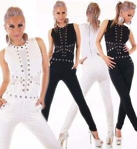 Women-039-s-Clubwear-Jumpsuit-One-Piece-Playsuit-Silver-Studs-with-Zipper-S-M-M-L-UK