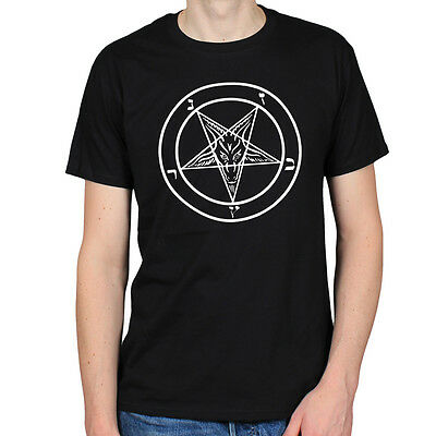 PENTAGRAM GOTHIC OCCULT SATAN 666 DEVIL WORSHIP GOTH EMO METAL MENS T-SHIRT TEE