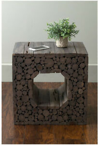 Rustic Gray Teak Wood Square Accent Side End Table