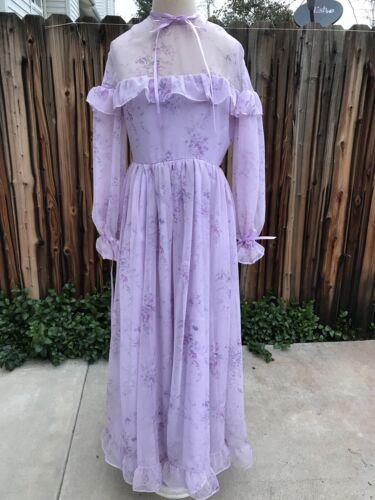 Vintage Sheer Dress Floral Material Prairie Purpl… - image 1