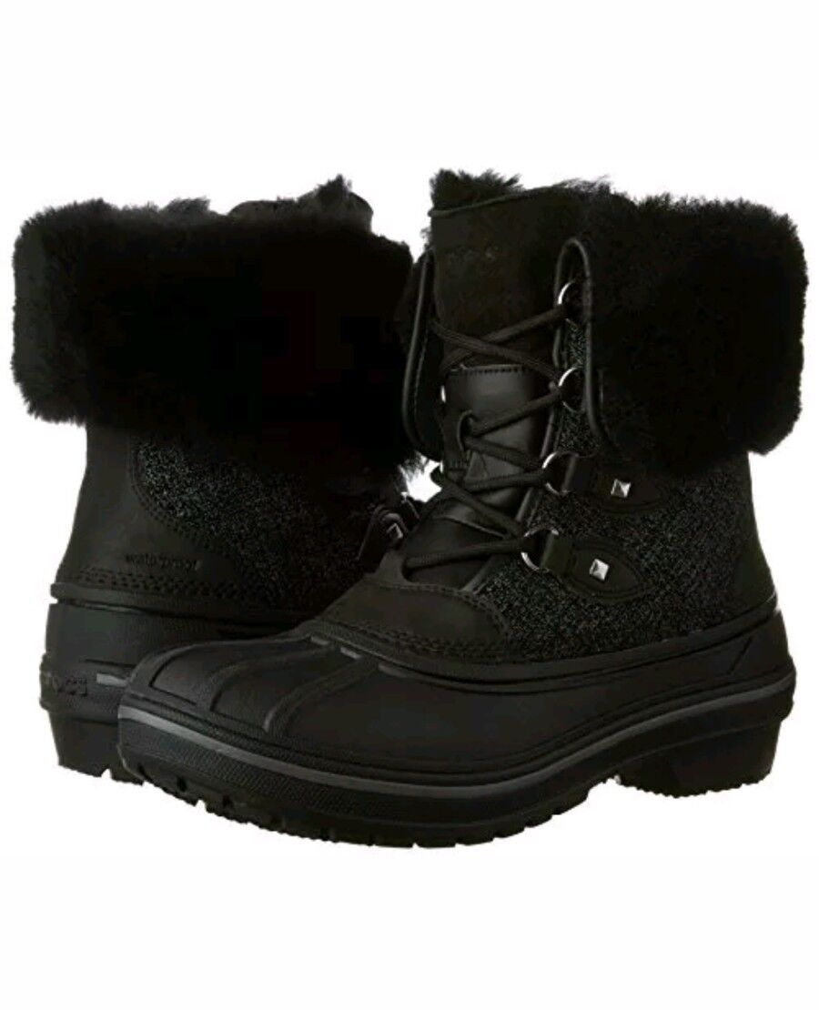 Crocs AllCast II LUXE SNOW Winter Duck BOOTS BLACK 5 Winter SNOW Fur Waterproof Lace Up Shoe f5c411