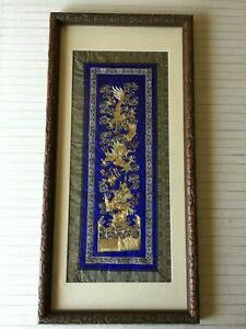 Chinese gold dragon embroidery wall art in wood frame gold dragon 5e monster manuel