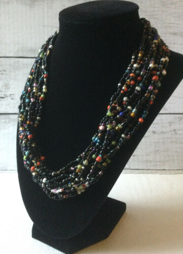 Three Corded Multi Shaped Beads Vintage Beaded Necklace Boho Chic Style Casual Necklace