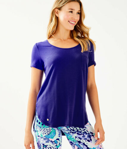 Lilly Pulitzer NWT Luxletic Kerah Heavy Weight Lounge Tee Royal Purple $68