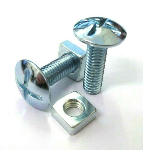 """M8 x 1/"""" Roofing bolts /& nuts Mushroom slotted head Pack of 20 *Top Quality!"""
