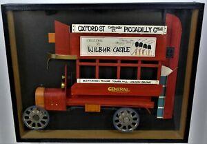 Vintage Folk Art London Double Decker Bus Shadowbox Diorama