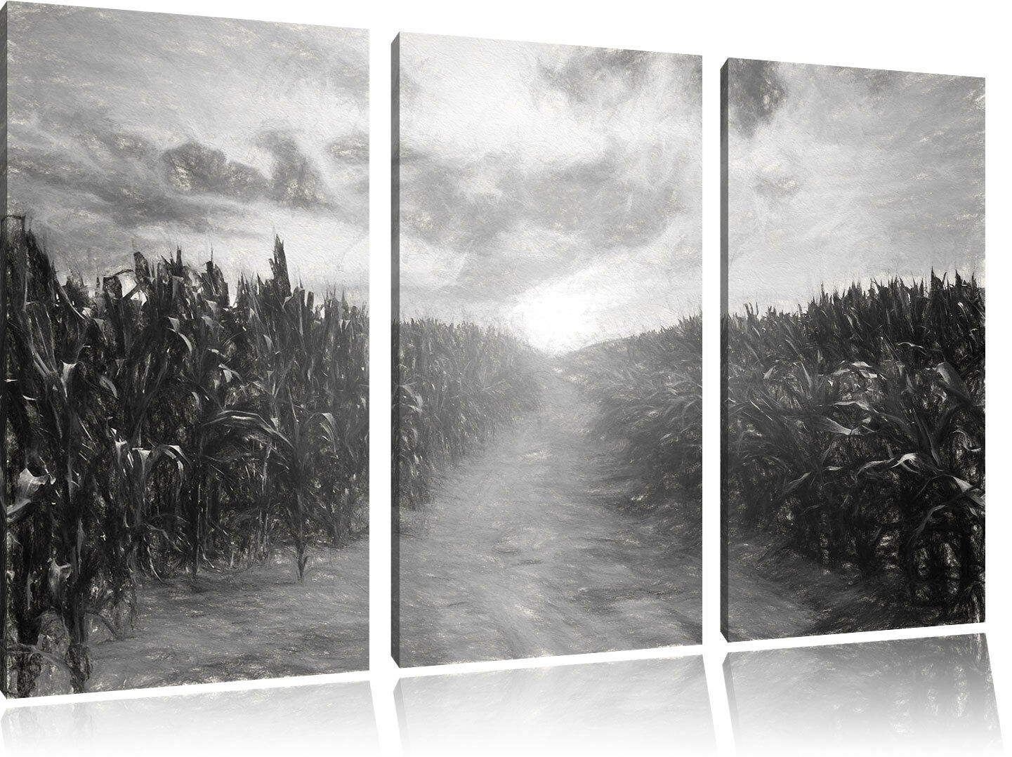 Pfad durch sonniges Feld Kunst Kohle Effekt 3-Teiler Leinwandbild Wanddeko Kunst