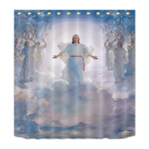 Details About Shower Curtain Set Cloud Jesus Coming Bathroom Waterproof Fabric Hooks 72X72