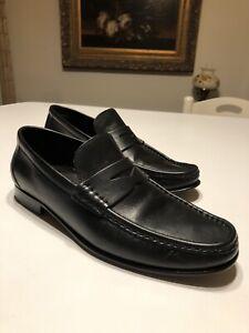 A. Testoni Venetian Penny Loafer Size 9 M Black Leather ...