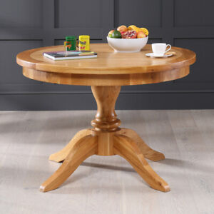 Solid Oak Round 4 Seater Dining Table With Pedestal Base 105cm Diameter Ad43 Ebay