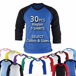 476a3677 Image is loading 30PCS-Raglan-Baseball-Blank-T-shirts-Tops-Custom-