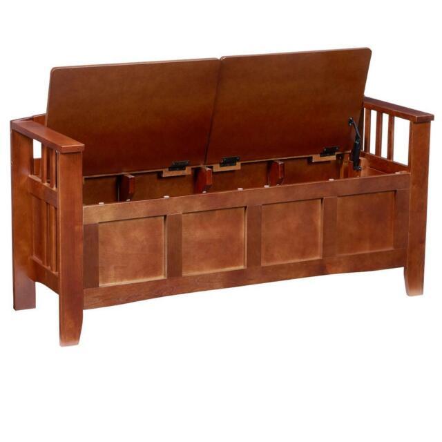 Walnut Storage Bench Split Seat Flip Top Lid Wood Entryway Living Room  Furniture