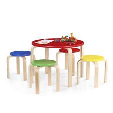 Wood Round Kids Table and 4 Chairs Set Furniture Toddler Children Activity J6Y9