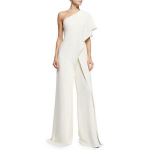 Women-Fashion-One-Shoulder-High-Waist-Wide-Leg-Asymmetric-Jumpsuit-Pants-White