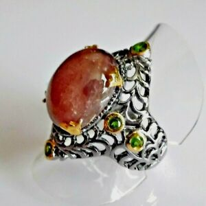 Unikat Cabochon Rubin Chromdiopsid Silber Ring 925 Black Rhodium Gold 17,8 mm 56