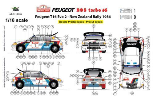Decals 1//18 Peugeot 205 Turbo 16 FFSMC Productions Nouvelle Zélande 1986