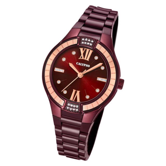 Calypso Reloj de Pulsera Mujer Moda K5720/5 Cuarzo PU Berenjena Púrpura UK5720 /