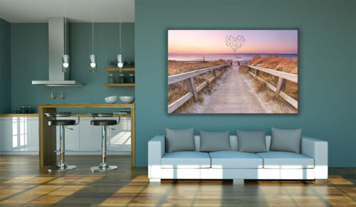 Love Heart Birds Beach Dunes Large Luxury Canvas Wall Art Picture Print A0 A2