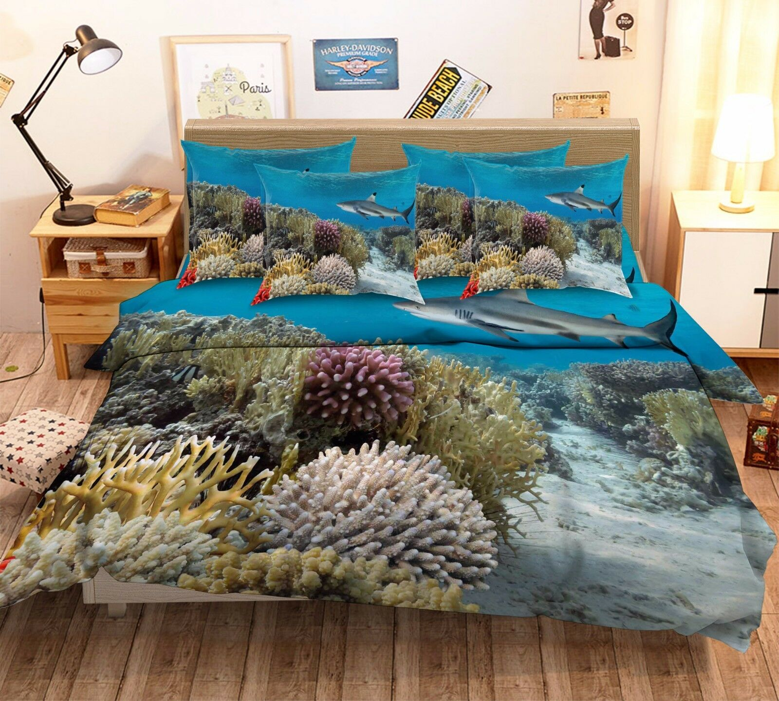 3D Shark Coral Sea 463 Bed Pillowcases Quilt Duvet Cover Set Single Queen CA