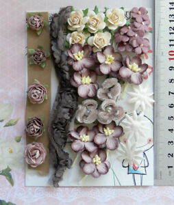BROWN-REDWOOD-IVORY-42-Flower-Mix-6-Tones-7-Styles-PAPER-amp-FABRIC-15-25mm-VD3