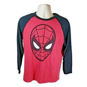 Marvel Mens Red Black Crew Neck Long Sleeve Spiderman T-Shirt Size Medium