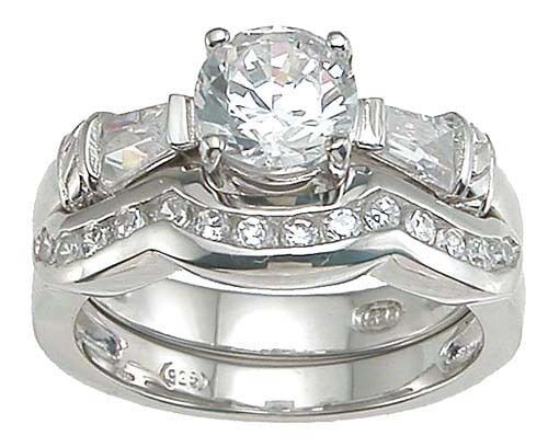 1.5 CT .925 STERLING SILVER ROUND WEDDING ENGAGEMENT RING SET SIZE 5 6 7 8 9
