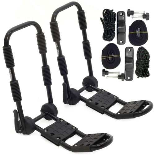 Heavy Duty CONWY Kayak Carrier Car Roof Rack Double Folding J Bars and Straps