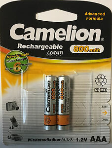 Heimwerker 2xcamelion Nimh Akku 1,2 Volt 800 Mah Micro Aaa Hr03 Wiederaufladbar Schnellvers Elektromaterial
